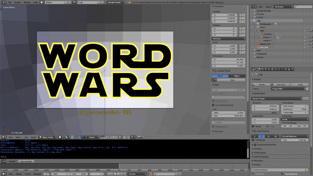 Word Wars Blender Scene