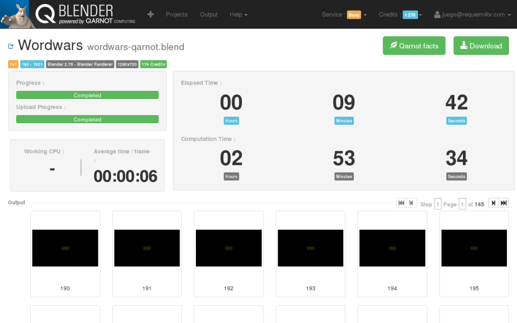 Qarnot Blender Interface