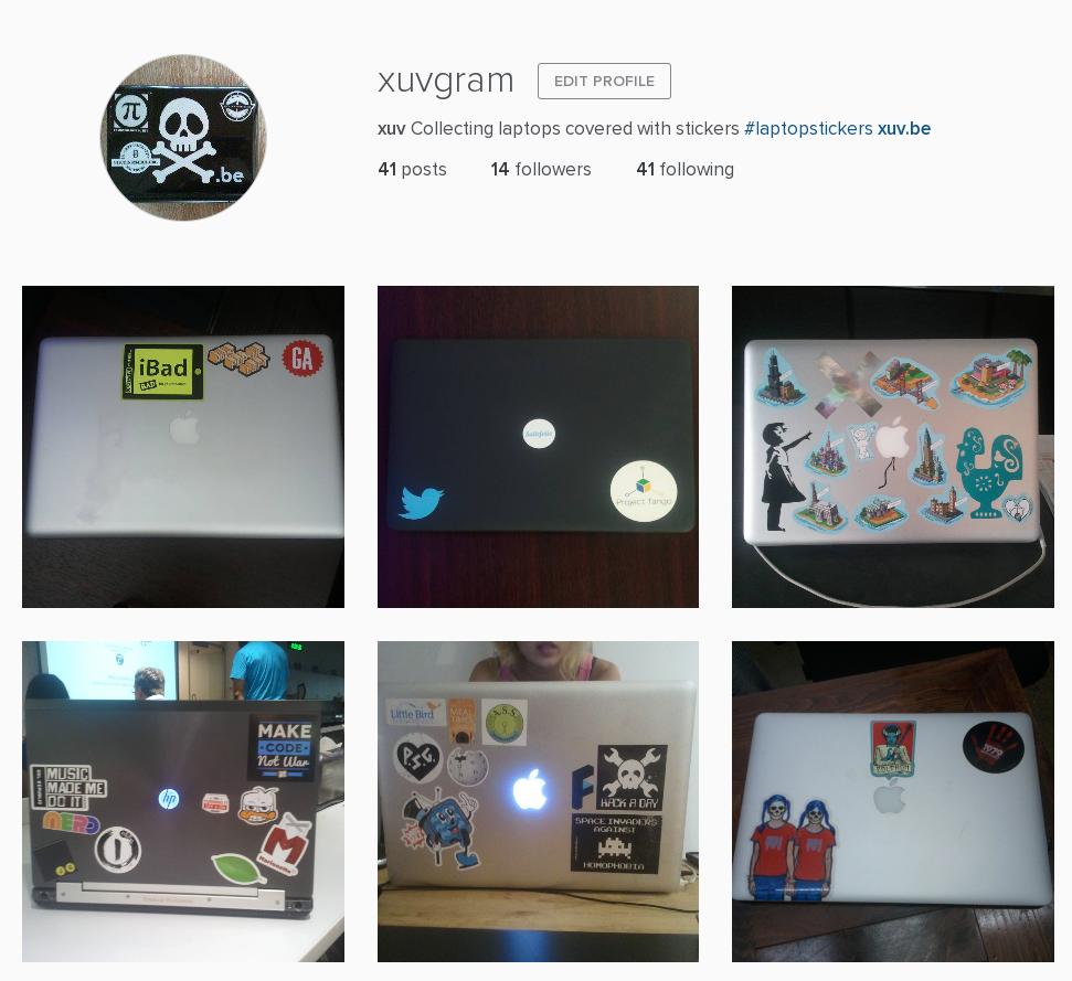 Instagram de laptops avec autocollants