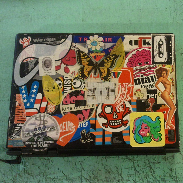 For a research project with dorothy howard we ask you to send us a picture of your laptop cover with stickers there could be one or many stickers