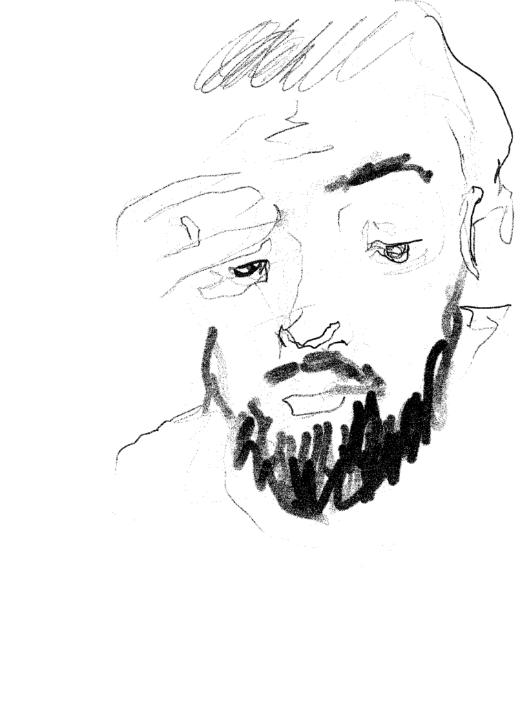 Drawing of a portrait in black and white
