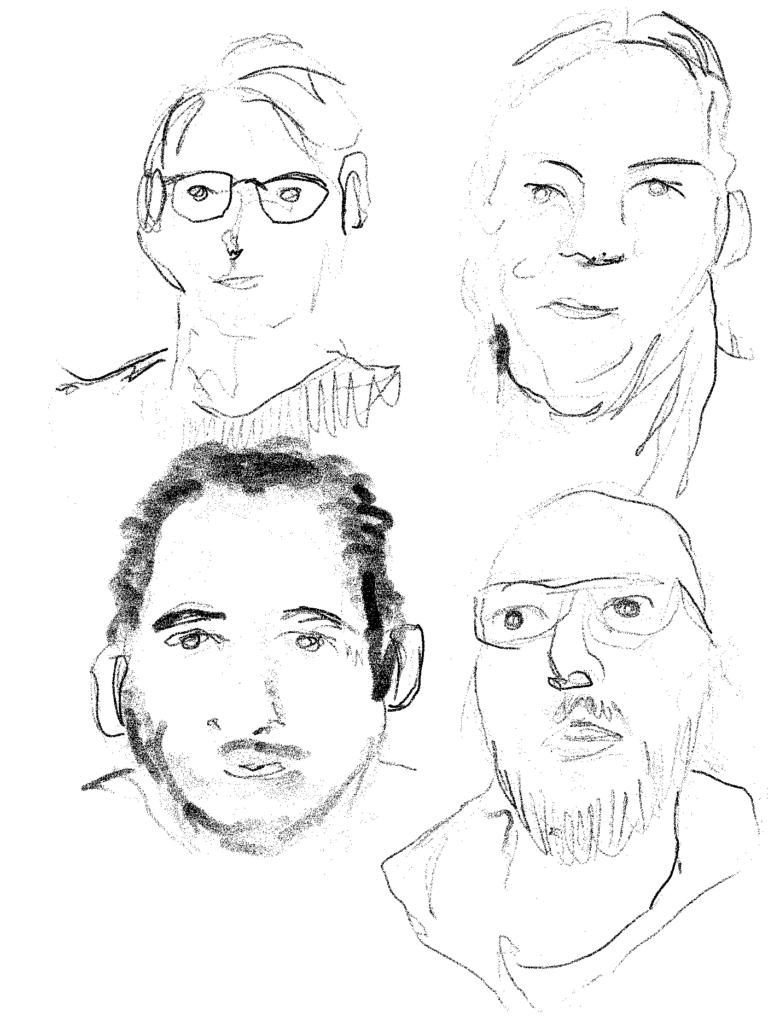Drawing of portraits in black and white